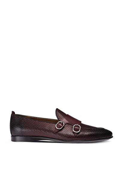 Deery Erkek Bordo Hakiki Deri Çift Tokalı Loafer Ayakkabı