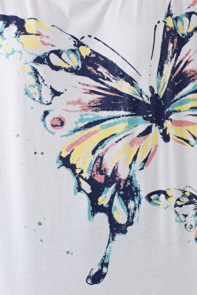 Kadın Kelebek Baskılı Beyaz T-Shirt 168490-620