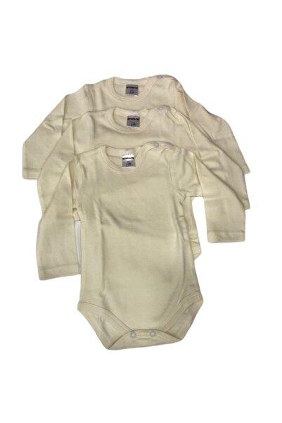 Bücürük Bebek Krem Rengi Body Uzun Kollu  3 Adet