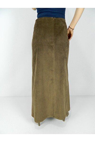 Kadın Kahverengi  Kadife Uzun Etek