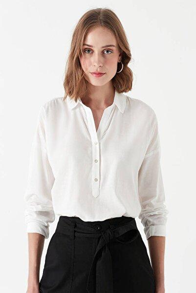 Kadın Uzun Kollu Beyaz Bluz 122414-30701