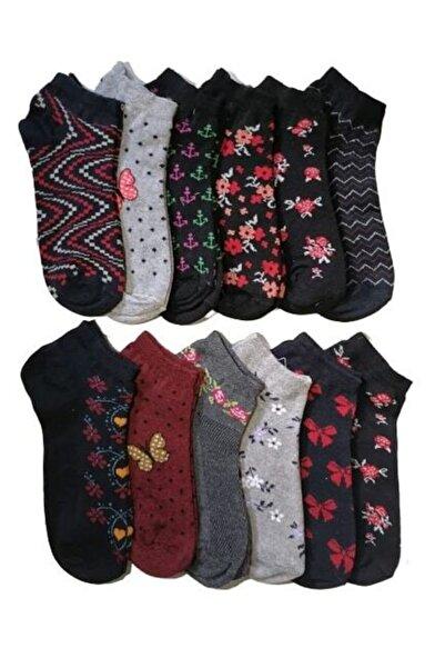 SOYTEMİZ ÇORAP Kadın Patik Çorap (12 Çift) Farklı Desen