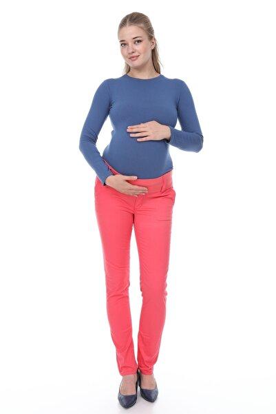 MİMBA Kadın Nar Renk Yarım Bel Dar Paça Kot Hamile Pantolonu
