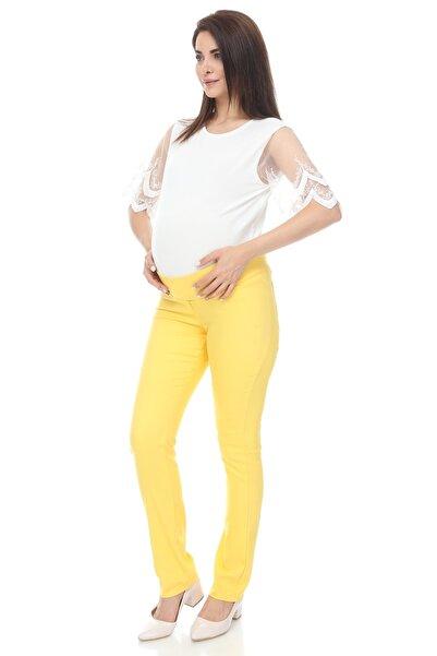 MİMBA Kadın Sarı Yarımbel Dar Paça Kumaş Hamile Pantolonu