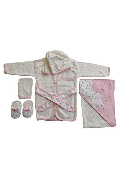Gaye Bebe Kız Ve Erkek Bebek 4 Parça Bornoz Seti Nakışlı