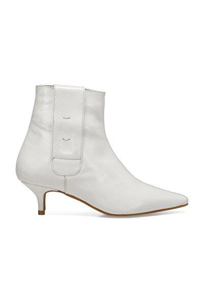 Hakiki Deri Beyaz Kadın Topuklu Ayakkabı