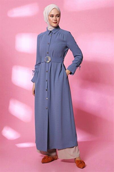 Armine Kadın Gri Mavi Pardesü  20y8206
