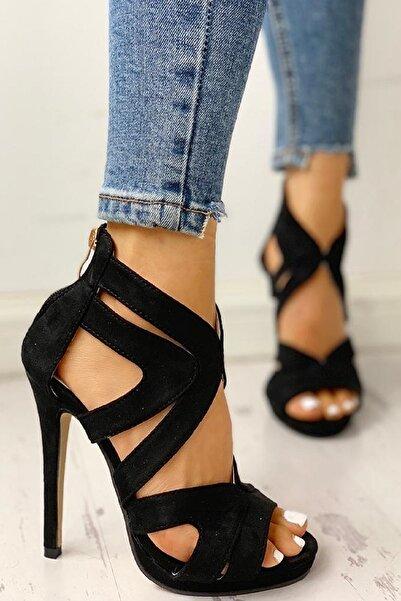 trendyes Siyah Süet Lazer Kesim Topuklu Ayakkabı