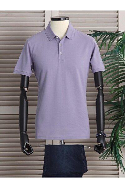 Kip Erkek Lila Düz Örme  Polo Yaka T-shirt
