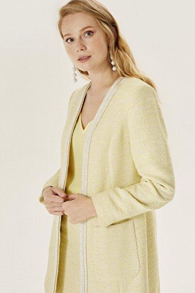 Naramaxx Kadın Sarı Incili Uzun Tüvit Ceket