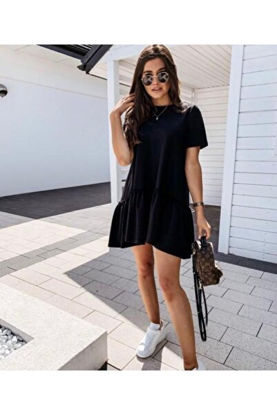 Siyah Fırfırlı Elbise