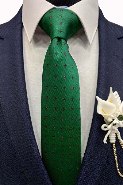 Gutiero Erkek Yeşil Desenli Klasik Kravat