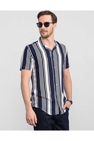 Tudors Erkek Lacivert Slim Fit Kısa Kol Çizgili Spor Gömlek