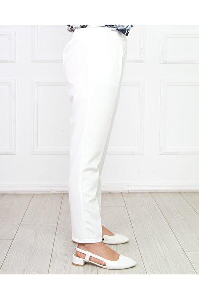 Kadın Beyaz Beli Lastikli Kalem Pantolon