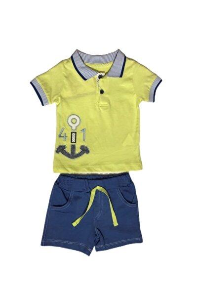 Estella Erkek Bebek Yeşil Çapalı Polo Yaka Tshirt Şort Ikili Takım