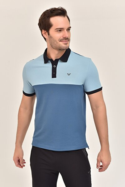 Erkek Mavi Büyük Beden T-shirt  Gs-8981