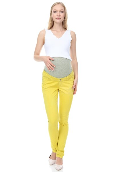 MİMBA Kadın Sarı Hamile Dar Paça Kot Pantolonu