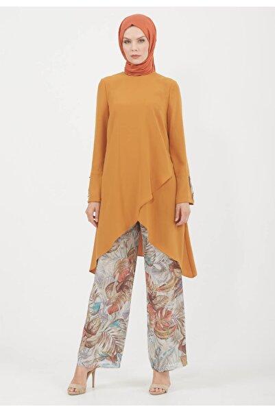 Setrms Kadın Sarı Desen Pantolonlu Takım