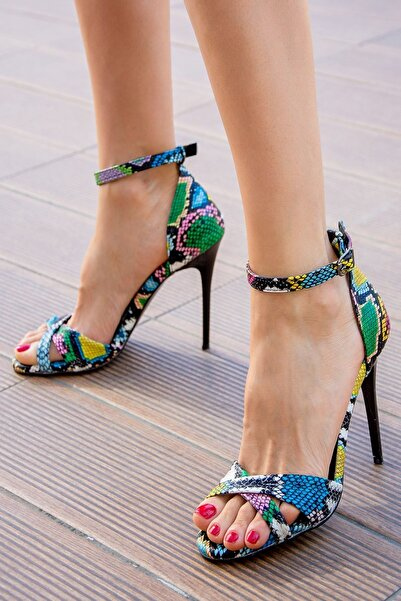 Fox Shoes Renkli Kadın Topuklu Ayakkabı B922113707