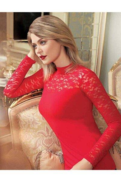 Şahinler Kadın Kırmızı Robası Ve Kolları Dantel Uzun Kollu Yarım Balıkçı Bluz Mb271