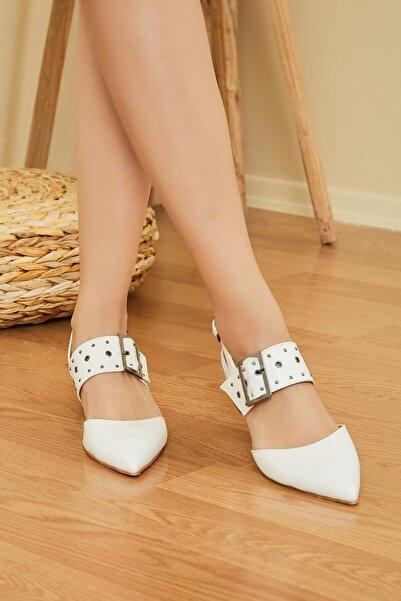 Sateen Kadın Beyaz Cilt Kuş Gözü Bantlı Topuklu Ayakkabı Stn876Kay107