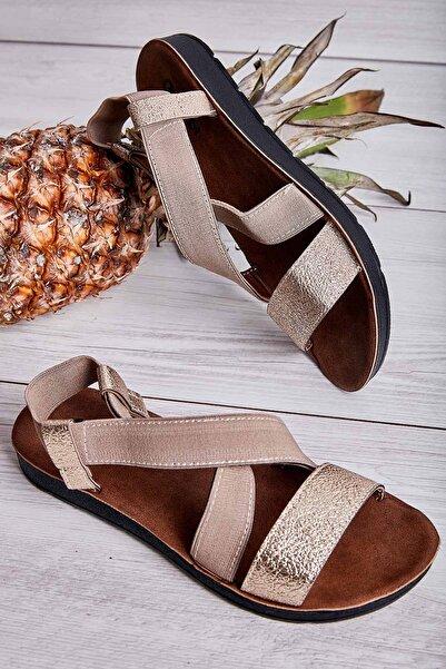 Bambi L.Altın/Camel Lastik Kadın Sandalet L06422222