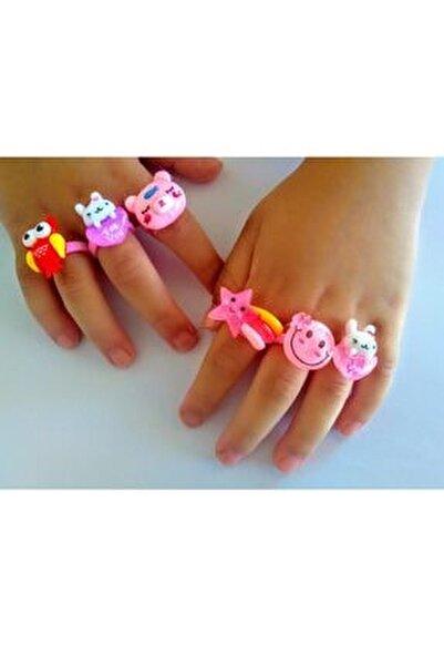 6 Adet Kız Çocuk Yüzük - Pembe Renkli Çocuk Yüzüğü 3-9 Yaş Çocuk Aksesuar