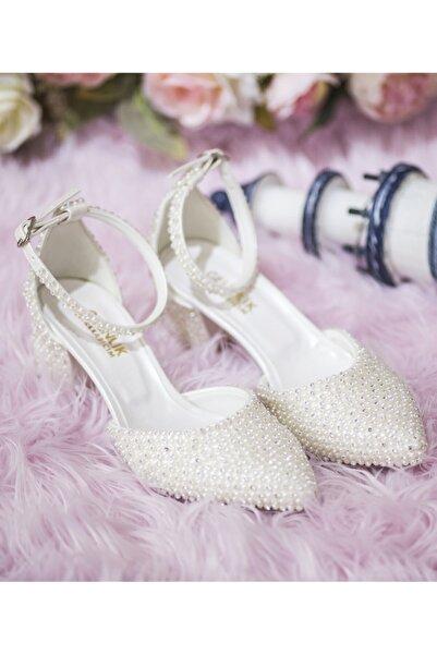 Gelinlik Ayakkabıcım Kadın Kırık Beyaz Tek Bant Kısa Topuklu Ayakkabı