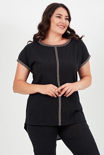 Moda Cazibe Büyük Beden Otantik Şeritli Krinkıl Bluz