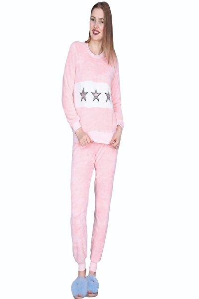 Kadın Kışlık Uzun Kollu Açık Pembe Welsoft Pijama Takımı