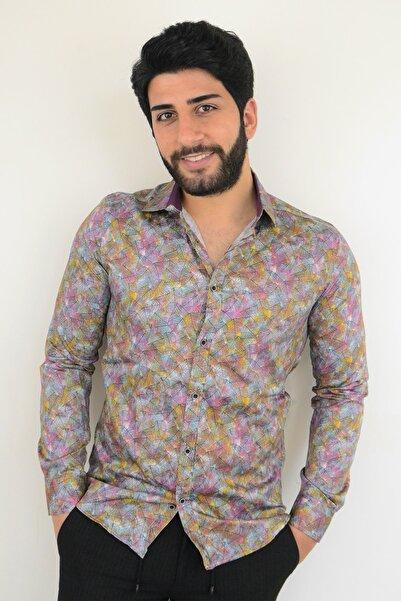 Mcr Erkek Gömlek Rengarenk Yapraklı 37928 Model