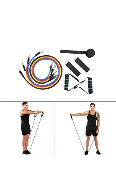 smile express Tutamaçlı Elastik Direnç Lastiği Vücut Şekillendirme Egzersiz Tübülü Yoga Pilates Çekme Halatı Bandı