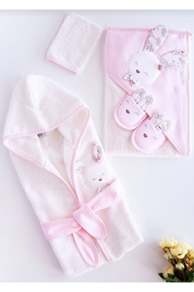 Gaye Yeni Koleksiyon Kız Bebek Havlu Bornoz Seti 100826 Pembe - Bebek Doğum Hediyesi