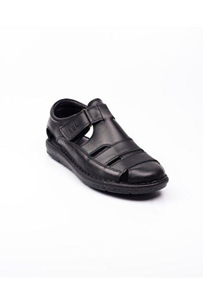 Bulldozer 201843 Siyah Deri Erkek Sandalet Siyah-44