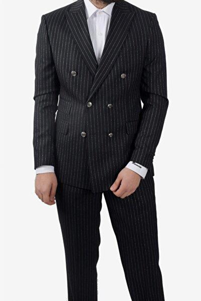 MASERTO Erkek Siyah Çizgili  Slim Fit Kruvaze Takım Elbise