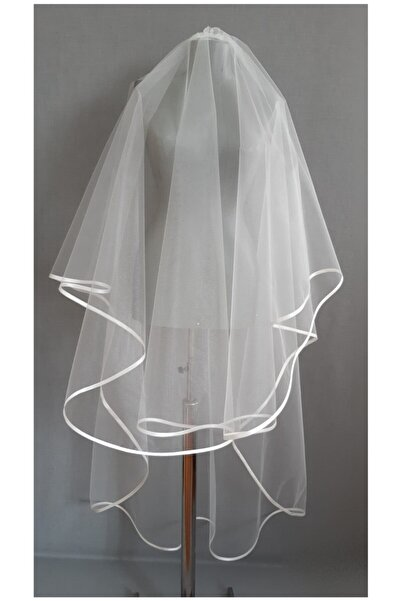 Suzanna Moda Kırık Beyaz Kristal  Saten Biyeli Gelin Duvağı