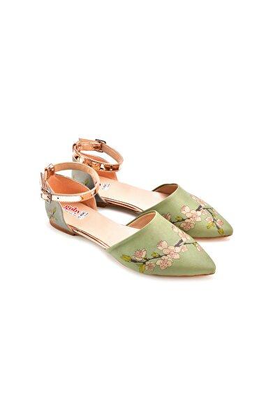 Goby Kadın Yeşil Özel Tasarım Baskılı El Yapımı Kadın Sandalet