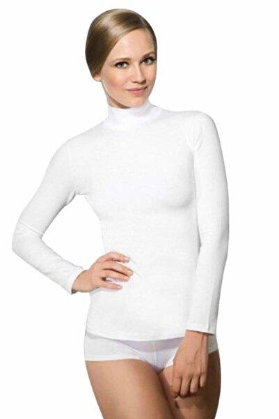 Doreanse Kadın Beyaz Uzun Kollu Boğazlı T-shirt 8510