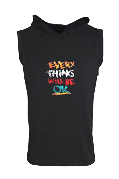 Unisex Everything Will Be Ok Yazılı Kapşonlu Kolsuz T-shirt