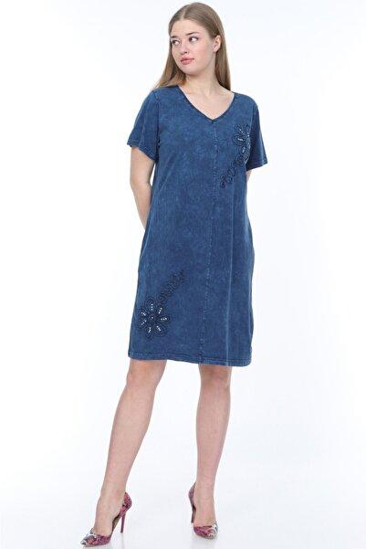 Mia Butik Kadın Lacivert Papatya Işlemeli Pamuklu Elbise