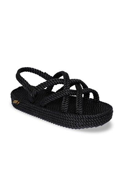 Nomadic Republic Bodrum Platform Siyah Kadın Sandalet