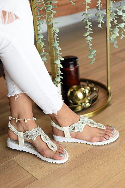 Pembe Potin Kadın Sedef Sandalet