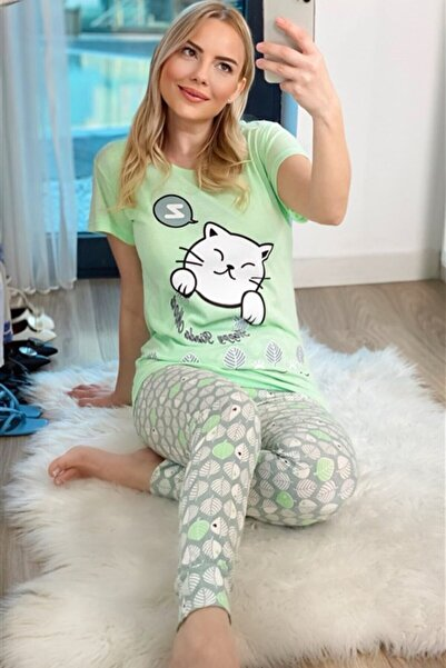 Oblavion Kadın Mint Yeşil Cat Kısa Kol Pijama Takım