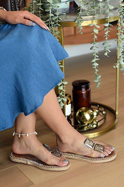 Pembe Potin Kadın Şeffaf Sandalet