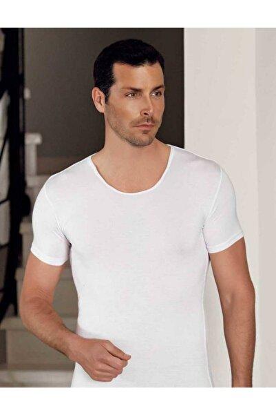 Şahinler Erkek Beyaz Bisiklet Yaka Kısa Kollu Modal Erkek T-shirt Me129