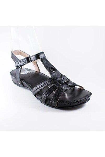 Forelli Kadın Siyah Deri Ortopedik Sandalet 9609