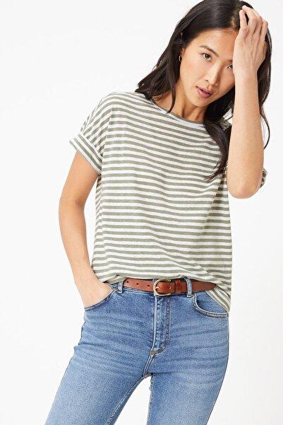 Marks & Spencer Kadın Yeşil Çizgili Keten T-Shirt T41006585