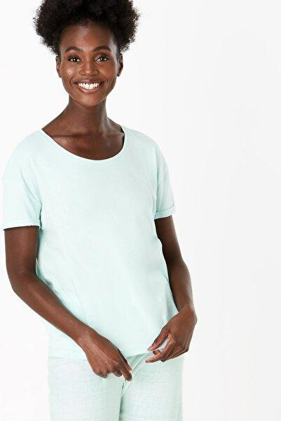 Marks & Spencer Kadın Yeşil Saf Pamuklu Crop Pijama Takımı T37004013F