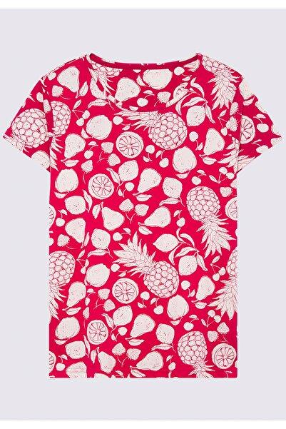 Marks & Spencer Kadın Kırmızı Ananas Desenli Pijama Takımı T37005001X