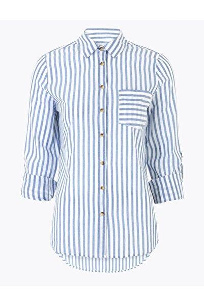 Marks & Spencer Kadın Mavi Saf Pamuklu Çizgili Gömlek T43004404